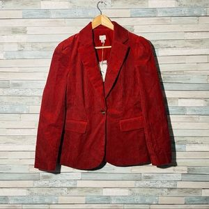 A New Day Suit Coat Blazer Red Cord Single Button